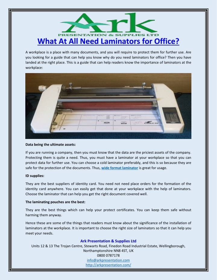 what at all need laminators for office n.