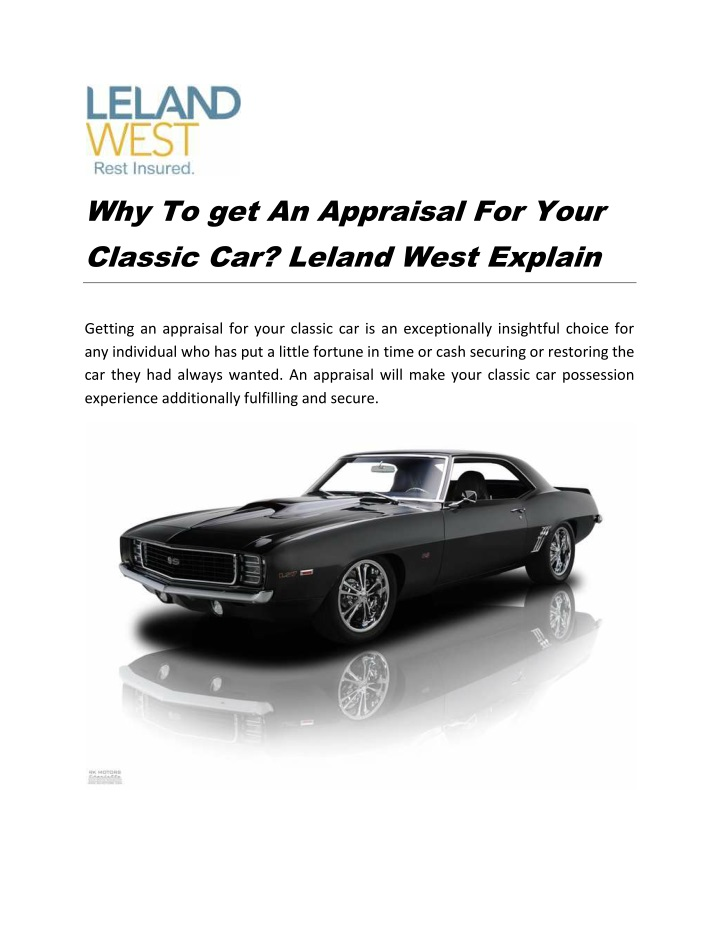 why to get an appraisal for your classic n.