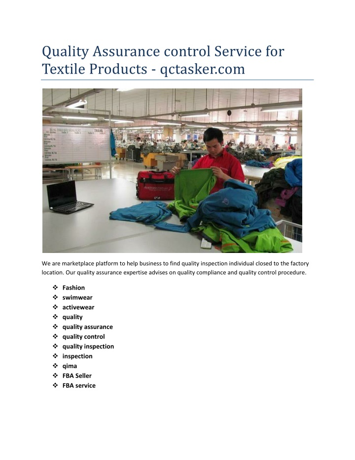 quality assurance control service for textile n.