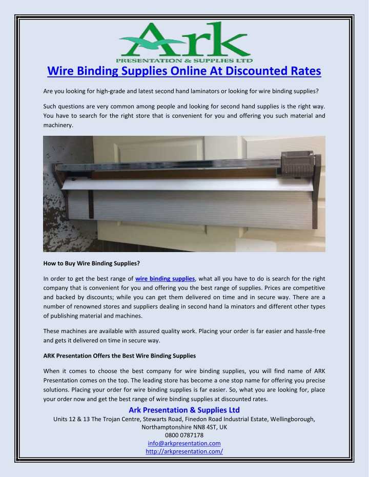 wire binding supplies online at discounted rates n.