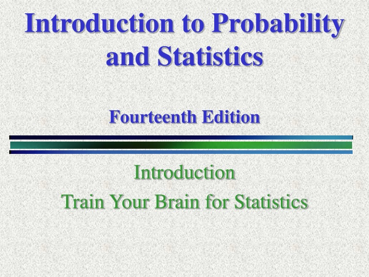 introduction to probability and statistics fourteenth edition n.