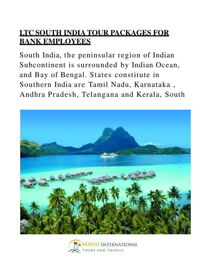 ltc south india tour packages for bank employees n.
