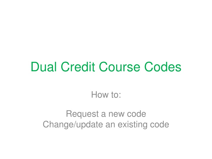 dual credit course codes n.