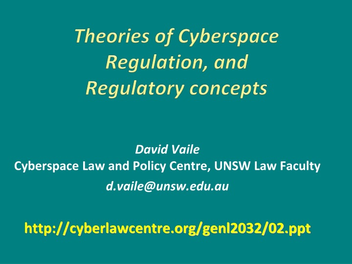 theories of cyberspace regulation and regulatory concepts n.