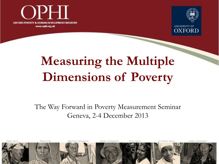 measuring the multiple dimensions of poverty n.
