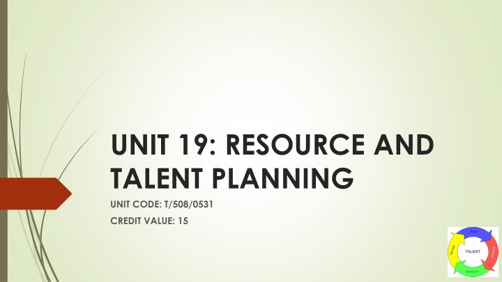 unit 19 resource and talent planning n.