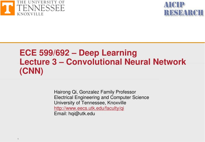 ece 599 692 deep learning lecture 3 convolutional neural network cnn n.