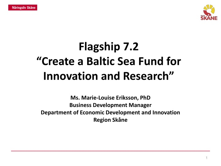 flagship 7 2 create a baltic sea fund for innovation and research n.