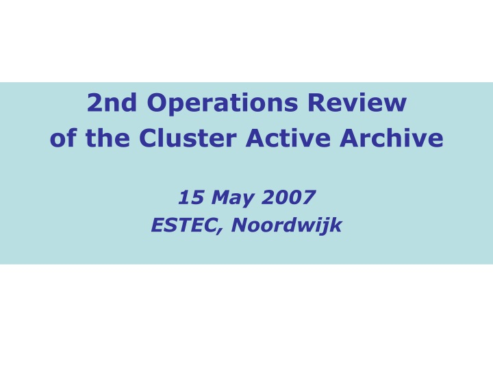 2nd operations review of the cluster active n.