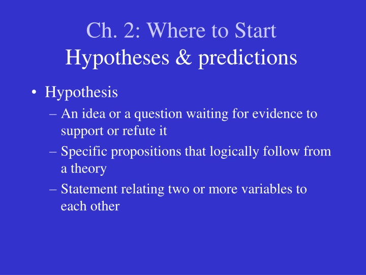 ch 2 where to start hypotheses predictions n.