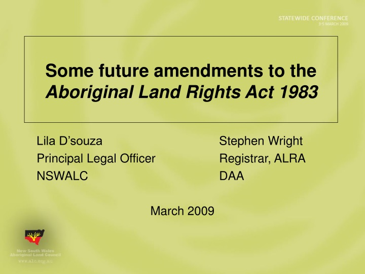 some future amendments to the aboriginal land rights act 1983 n.