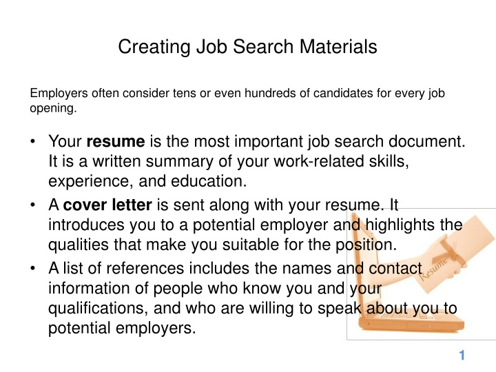 creating job search materials n.