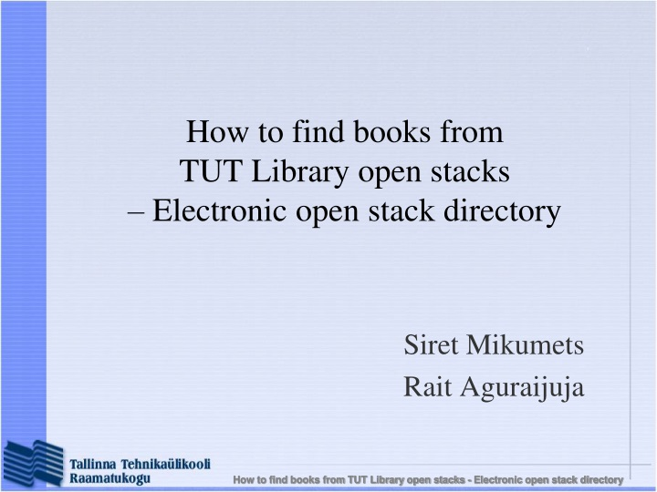 how to find books from tut library open stacks electronic open stack directory n.