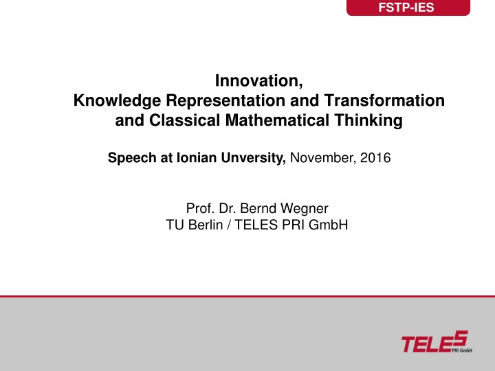 innovation knowledge representation and transformation and classical mathematical thinking n.