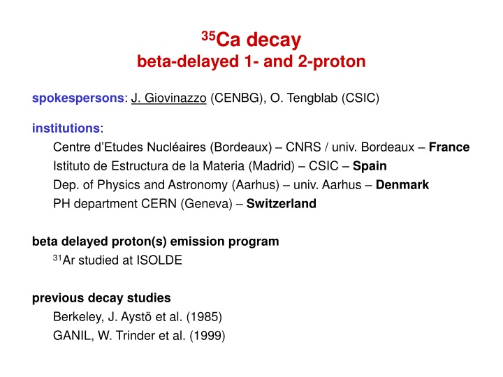 35 ca decay beta delayed 1 and 2 proton n.