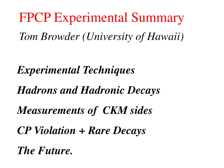 fpcp experimental summary n.