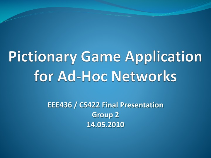 pictionary game application for ad hoc networks n.