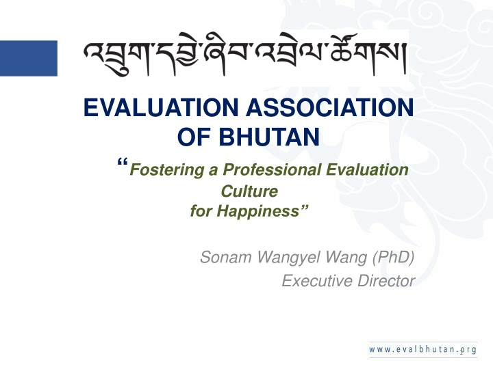 evaluation association of bhutan fostering a professional evaluation culture for happiness n.