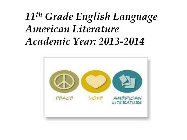 11 th grade english language american literature n.