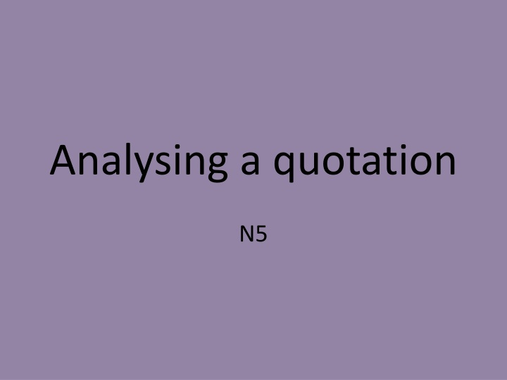 analysing a quotation n.