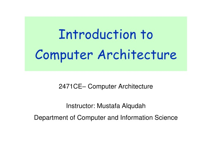 introduction to computer architecture n.