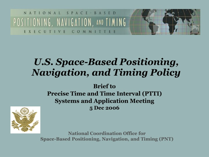 u s space based positioning navigation and timing policy n.
