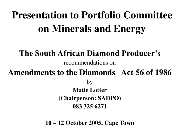 presentation to portfolio committee on minerals and energy n.