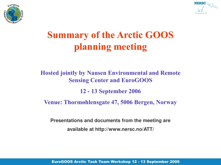 summary of the arctic goos planning meeting n.
