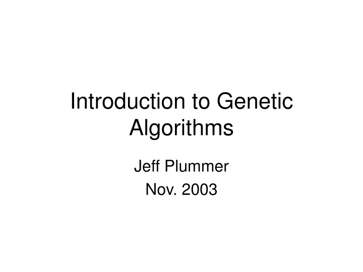 introduction to genetic algorithms n.