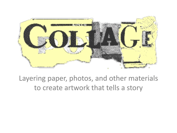 layering paper photos and other materials to create artwork that tells a story n.