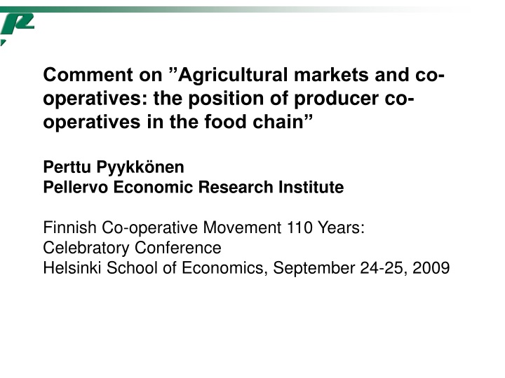 comment on agricultural markets and co operatives n.
