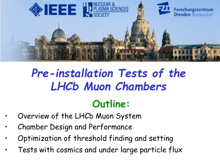 pre installation tests of the lhcb muon chambers n.