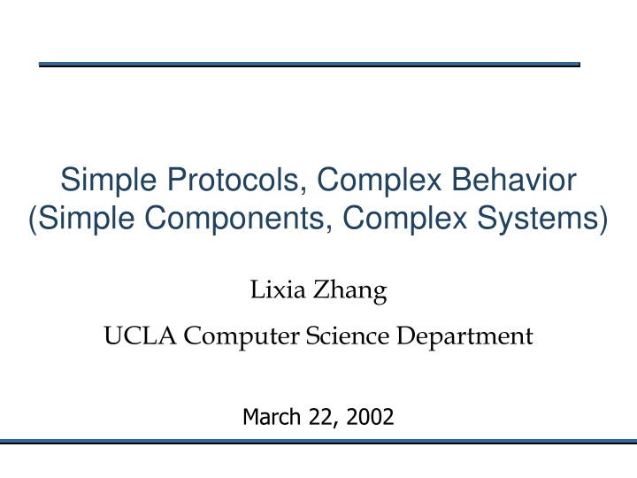 simple protocols complex behavior simple components complex systems n.