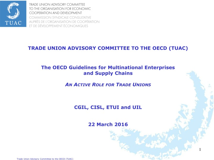 trade union advisory committee to the oecd tuac n.
