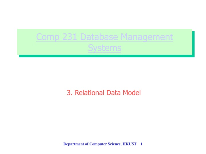 comp 231 database management systems n.