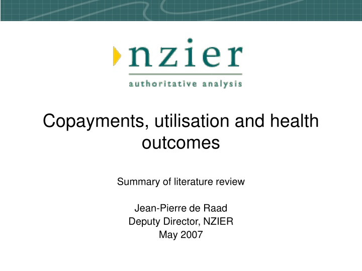 copayments utilisation and health outcomes n.