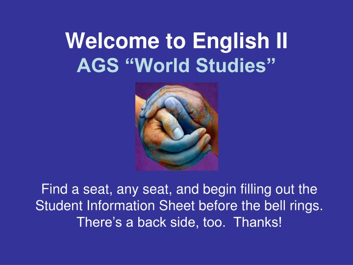 welcome to english ii ags world studies n.
