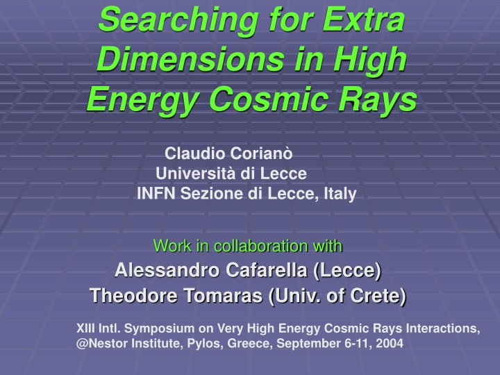 searching for extra dimensions in high energy cosmic rays n.