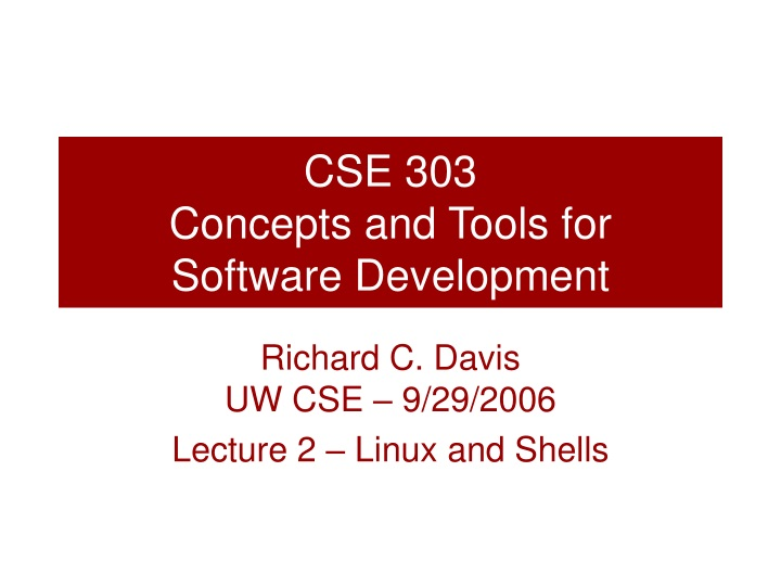 cse 303 concepts and tools for software development n.