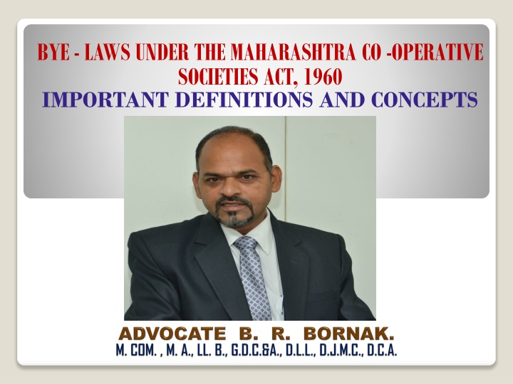 bye laws under the maharashtra co operative societies act 1960 important definitions and concepts n.