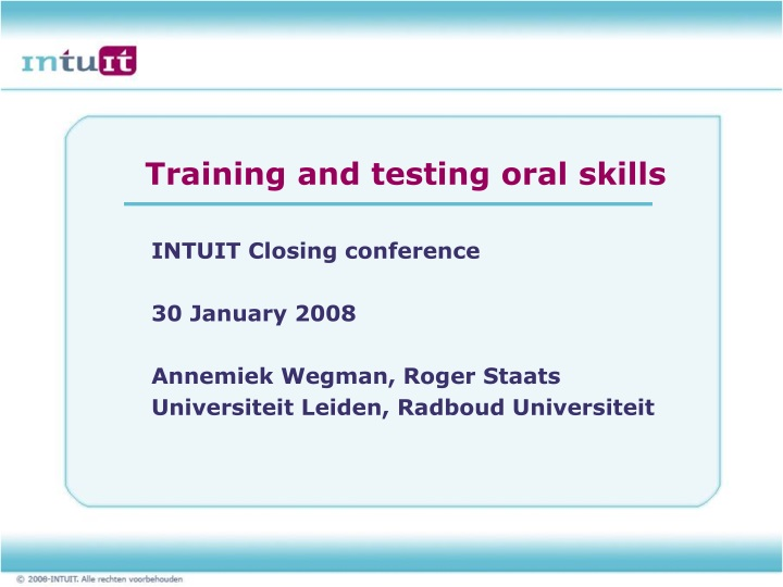 training and testing oral skills n.