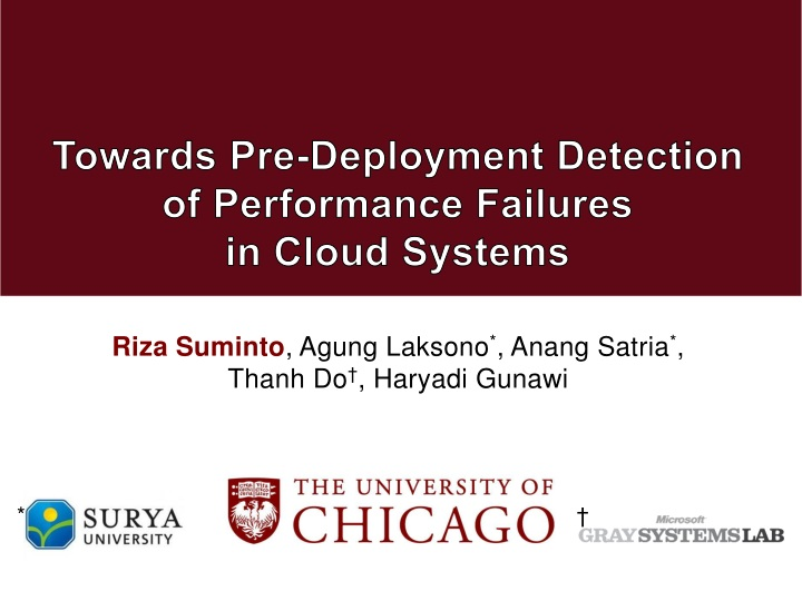 towards pre deployment detection of performance failures in cloud systems n.