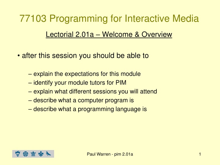 77103 programming for interactive media n.