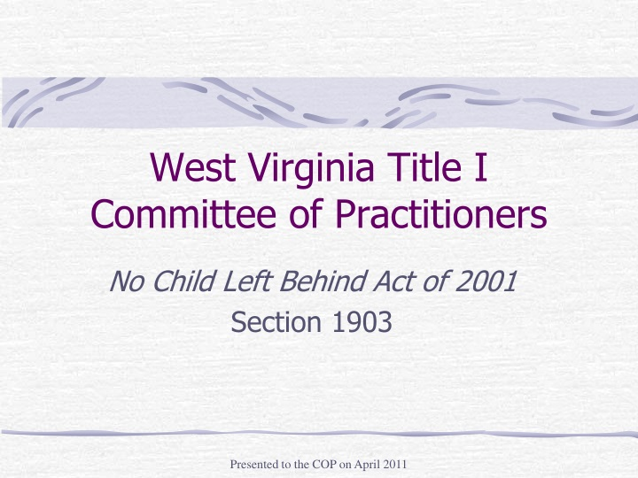 west virginia title i committee of practitioners n.