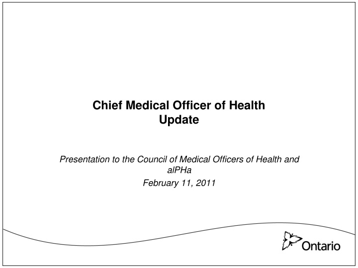chief medical officer of health update n.