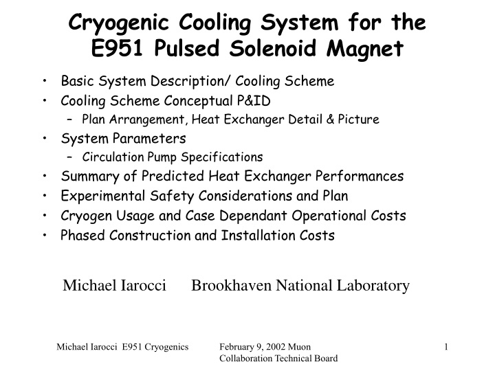 cryogenic cooling system for the e951 pulsed solenoid magnet n.