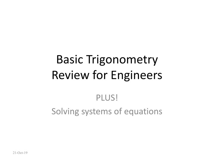basic trigonometry review for engineers n.
