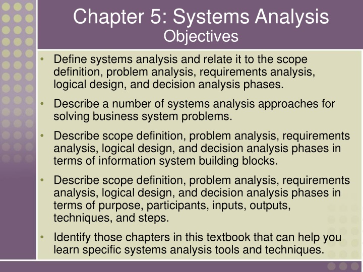 chapter 5 systems analysis objectives n.