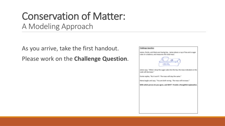 conservation of matter a modeling approach n.