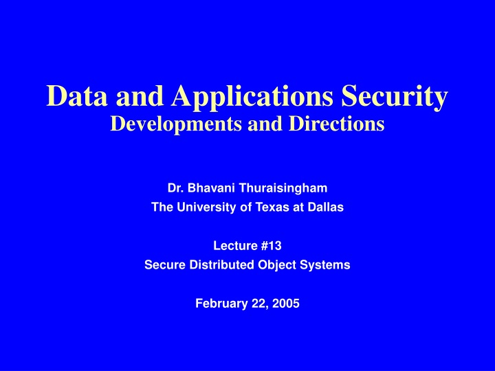 data and applications security developments and directions n.